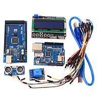 læringsværktøjer mega 2560 r3 bord + ethernet W5100 + relæ + breadboard kabel + hc-SR04 sensor kit til Arduino
