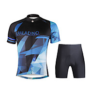 PALADIN® ショーツ付きサイクリングジャージー 男性用 半袖 バイク 高通気性 / 速乾性 / 抗紫外線 / ビデオ圧縮 / 軽量素材 / 3Dパッド / 反射性ストリップ / 後ポケット / 低摩擦 洋服セット/スーツポリエステル100% / テリレン /