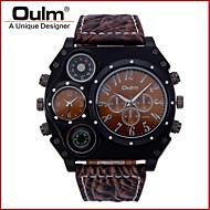 Oulm Herren Militäruhr Quartz Japanischer Quartz Thermometer Duale Zeitzonen Leder Band Cool Luxuriös Schwarz Braun Weiß Schwarz Braun