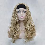 ヘッドバンド黄金のブロンド波状長い合成女性の半分のかつらを持つ新しいファッション3/4ウィッグ