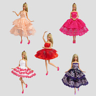 Party & Evening Dresses For Barbie Doll Red / Purple / White / Orange / Wine Red Lace Dresses
