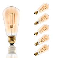 2 E26/E27 フィラメントタイプLED電球 ST58 2 COB 180 lm アンバー 装飾用 交流220から240 V 6個
