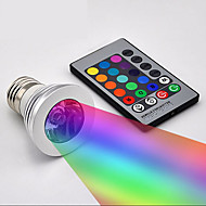 Creative 3W Decoration Light E27 RGB Remote Controlled Dimmable Aluminum Christmas Night Light Home Decoration