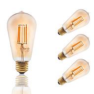 E26/E27 Izzószálas LED lámpák ST19 4 COB 300 lm Borostyánsárga Tompítható Dekoratív AC 110-130 V 4 db.