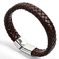 Heren Lederen armbanden Modieus Kostuum juwelen Roestvast staal Leder Ronde vorm Sieraden Voor Feest Dagelijks Causaal Sport