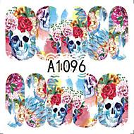 1pcs Nail Art Halloween Sticker Colorful Skull DIY Nail Art Decoration A1096-1100