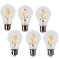 6 Pack 4W Vintage LED Filament Bulb A60 Medium Screw E27 Base Incandescent Replacement Warm White /White 220-240V AC