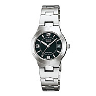 CASIO Ladies Steel Watch Small Dial Quartz   Watch with Black Plate LTP-1241D-1A