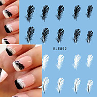 1pcs Beautiful Black White Feather Nail Art Decal Stickers  Nail Art BLE892