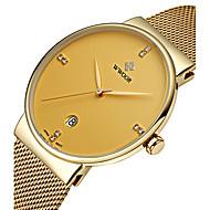 WWOOR Męskie Do sukni/garnituru Modny Zegarek na nadgarstek Kwarcowy Kwarc japoński Kalendarz Wodoszczelny Srebrzysty sztuczna Diament