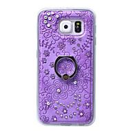 Mert Samsung Galaxy tok Tartó gyűrű Case Hátlap Case Virág Kemény Műbőr Samsung S6 edge plus / S6 edge / S6 / S5