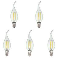 4W E12 LED-stearinlyspærer C35 4 COB 380 lm Kold hvid Justérbar lysstyrke Vekselstrøm 110-130 V 5 stk.