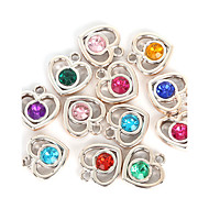 Beadia 20Pcs Assorted Colors 22x23mm Heart Acrylic Plastic Rhinestone Charm Pendant