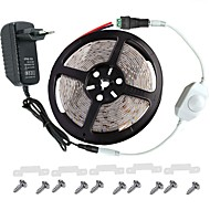 LED Light Strip Kit -3528 -300 LEDs IP65 Includes 3A Power Supply (36 Watt) and Dimmer - LED Tape Light Connector