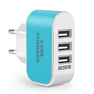 Fast Charge / multi Ports Portable lader EU Plug 3 USB-porter Bare Lader for Mobiltelefon(5V , 3.1A)