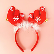 2PCS Antlers With Bell Ears Headband Head Buckle Holiday Dress Makeup Christmas Decorations Props