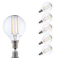 2W E12 LED Filament Bulbs G16.5 2 COB 200 lm Warm White Dimmable 120V 6 pcs