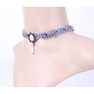 Damskie Naszyjniki choker Flower Shape Geometric Shape Rose Perłowy Koronka Frędzle Ślubny Purple Biżuteria Na Ślub Impreza 1szt