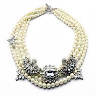 Női Nyaklánc medálok Nyilatkozat nyakláncok Gyöngy Gyöngy Függő Méretes ékszerek Divat luxus ékszer Többrétegű Európai Ékszerek