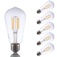 3.5W E26 LED Filament Bulbs ST19 4 COB 325 lm Warm White Dimmable / Decorative AC 110-130 V 6 pcs