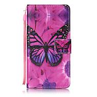 Voor huawei p8 lite p9 case cover vlinder patroon schilderen kaart stent pu leer