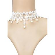 Damskie Naszyjniki choker Kołnierz Tatuaż Choker Geometric Shape Perłowy Koronka Tatuaż Frędzle Ślubny White Biżuteria Na Ślub 1szt
