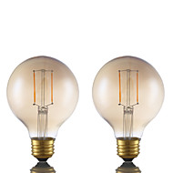 2W E26 LED Filament Bulbs G25 2 COB 180 lm Amber Dimmable 120V 2 pcs