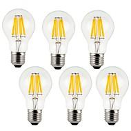 8W E26/E27 مصابيحLED A60(A19) 8 COB 800 lm أبيض دافئ / أبيض كول ديكور AC 220-240 V 6 قطع