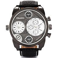 Oulm Muškarci Ručni satovi s mehanizmom za navijanje Kvarc Sat s dvije vremenske zone Prava koža Grupa Neformalno Cool Crna SmeđaObala