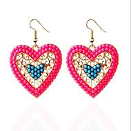 Kolczyki wiszące Turkusowy Miłość Modny luksusowa biżuteria Cyrkon Cyrkonia Żywica sztuczna Diament Stop Gold Black Czerwony Biżuteria Na