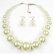 Dame Smykke Sæt Perle Lyserød Europæisk Perle 1 Halskæde 1 Par Øreringe Til Daglig Bryllupsgaver