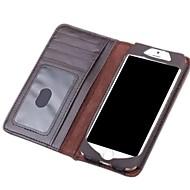 のために iPhone 6ケース / iPhone 6 Plusケース ウォレット / カードホルダー / フリップ ケース フルボディー ケース ソリッドカラー ハード 本革 iPhone 6s Plus/6 Plus / iPhone 6s/6
