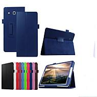 Voor met standaard / Flip hoesje Volledige behuizing hoesje Effen kleur Hard PU-leer Samsung Tab E 9.6