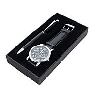 Masculino Relógio Elegante Quartzo Couro Banda Casual Preta / Marrom marca