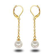 Druppel oorbellen Ring oorbellen Parel Parel Sterling zilver Platina Verguld Goud/Wit Zilver-Zwart Sieraden VoorBruiloft Feest Dagelijks