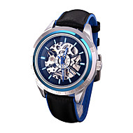 Men's Fashion Watch Mechanical Watch Automatic self-winding / Leather Band Casual Black Silver Brand