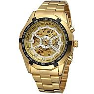 FORSINING Hombre Reloj de Moda El reloj mecánico Reloj de Pulsera Cuerda Automática Huecograbado Acero Inoxidable Banda De Lujo Dorado