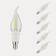 3W E12 フィラメントタイプLED電球 B 4 COB 380/300 lm 温白色 クールホワイト AC 110-130 V 6個
