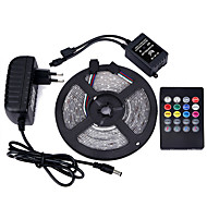 5M 3528 300 SMD IP65 RGB AC 100-240V With 20-key Music Remote Control 12V 3A Power Supply