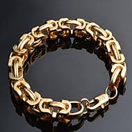 男性用 チェーン&リンクブレスレット ゴールドメッキ 18K 金 ファッション 幾何学形 ゴールド ジュエリー 1個