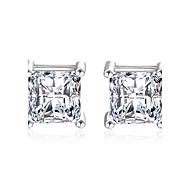 Niittikorvakorut Cubic Zirkonia jäljitelmä Diamond pukukorut Tyylikäs Classic Sterling-hopea Cubic Zirkonia Square Shape Korut