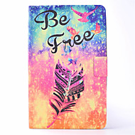 For Samsung Galaxy Tab T580 T350 PU Leather Material Feather Pattern Painted Flat Protective Cover T550 T560 T280