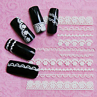30sheets Black White Lace 3D Nail Art Stickers Adhesive Nail Tips Decoration Accessories