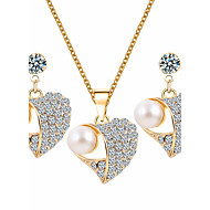Jewelry Set Peach Heart Pearl Drop Earrings Pendant Necklace For Women Set Sweater Necklaces Wedding Party