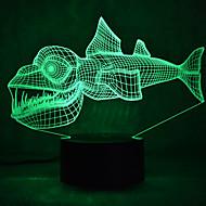 jul fisk touch med ljusreglering 3D LED nattlampa 7colorful dekoration atmosfär lampa nyhet belysning jul ljus