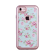 For Apple iPhone 7 7 Plus 6S 6 Plus Case Cover Small Cuihua Pattern Painted TPU Material Plating PC Frame Combo Phone Case