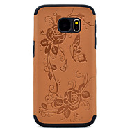 For Samsung Galaxy S8 Plus S7 Embossed Butterfly and Flower Pattern PU leather and Black TPU Combo Soft Phone Case S8