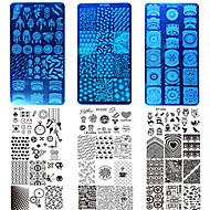 10PCS / 설정 새로운 달콤한 다채로운 이미지 디자인 네일 스테인레스 스틸 스텐실 매니큐어 도구 네일 미용 XY-z21-30 스탬핑 판 DIY 패션을 스탬핑