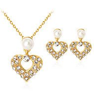 ジュエリーセット ファッション クラシック 人造真珠 ラインストーン ゴールドメッキ 合金 ハート ゴールド 1×ネックレス 1×イヤリング(ペア) のために パーティー 日常 1セット ウェディングギフト