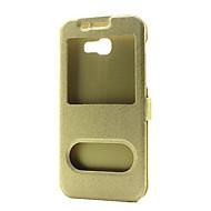Mert Állvánnyal Betekintő ablakkal Flip Case Teljes védelem Case Egyszínű Kemény Műbőr mert SamsungA3 (2017) A5 (2017) A7 (2017) A8(2016)